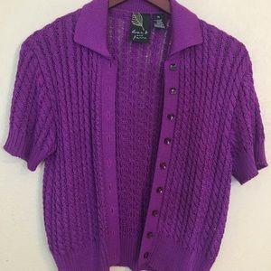 Dana B & Karen magenta knit short sleeved cardi m